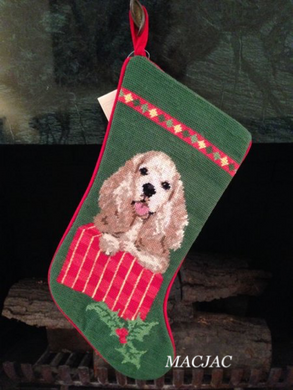 Cocker Spaniel Dog Needlepoint Christmas Stocking