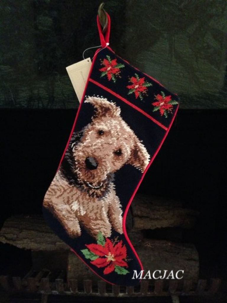 Airedale Dog Needlepoint Christmas Stocking