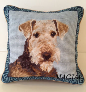 "Airedale Dog Needlepoint Pillow 10""x10"""