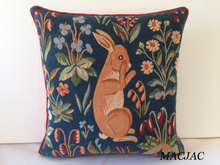 "Load image into Gallery viewer, Rabbit Stand Up Extract Tapestry Pillow 19""x19"" Made in France"