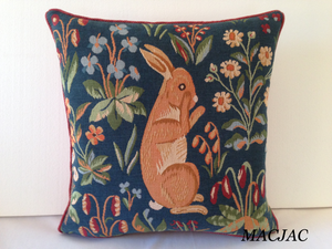 "Rabbit Stand Up Extract Tapestry Pillow 19""x19"" Made in France"