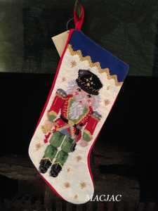 Nutcracker Needlepoint Christmas Stocking