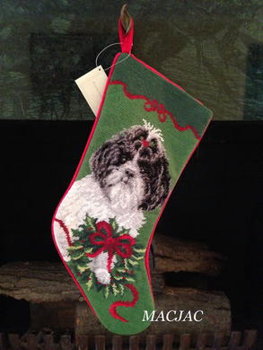 Shih Tzu Dog Needlepoint Stocking