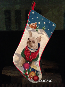 White French Bulldog Frenchie Dog Needlepoint Christmas Stocking