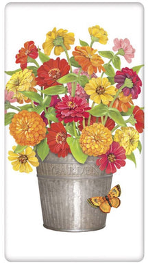 Flour Sack Kitchen Dish Towel Zinnias In Bucket Mary Lake - Thompson