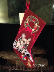 White Frenchie Dog Needlepoint Christmas Stocking
