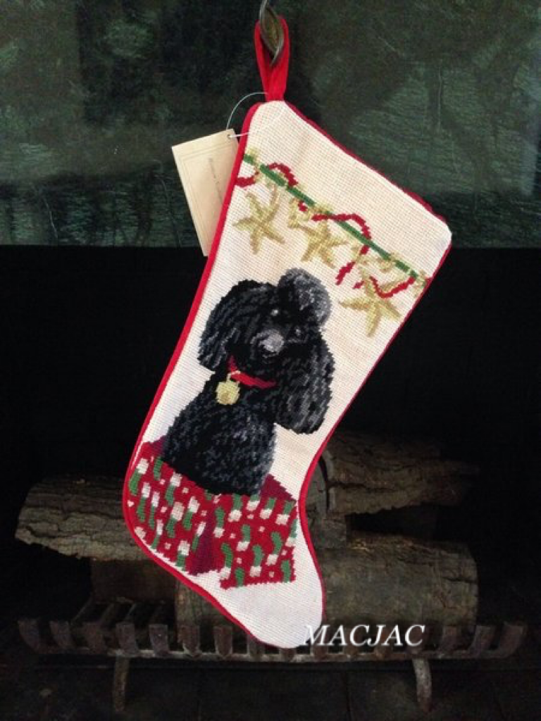 Black Poodle Dog Needpoint Christmas Stocking