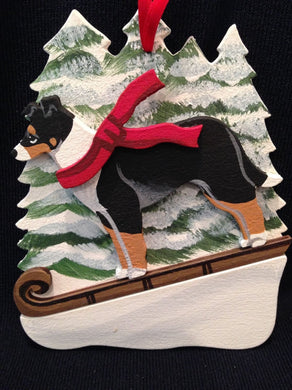Smooth Collie Dog Wooden Ornament Made in USA