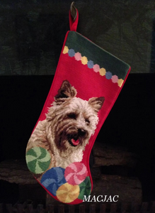 Cairn Terrier Dog Needlepoint Christmas Stocking