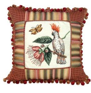 "Cockatoo Petit-Point/Fabric Trim 16""x16"" Pillow"