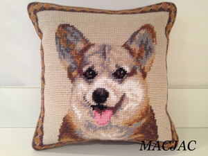 "Tricolor Corgi Dog Needlepoint Pillow 10""x10"""