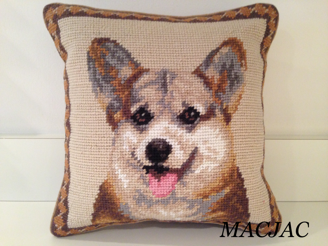 Tricolor Corgi Dog Needlepoint Pillow 10
