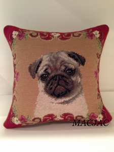 "Fawn Pug Dog Needlepoint Pillow 14""x14"""