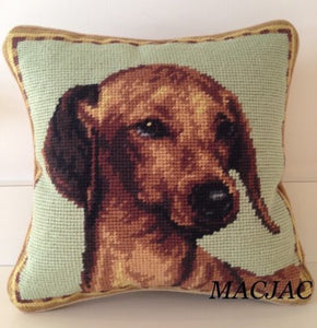 "Dachshund Needlepoint Pillow 10""x10"""