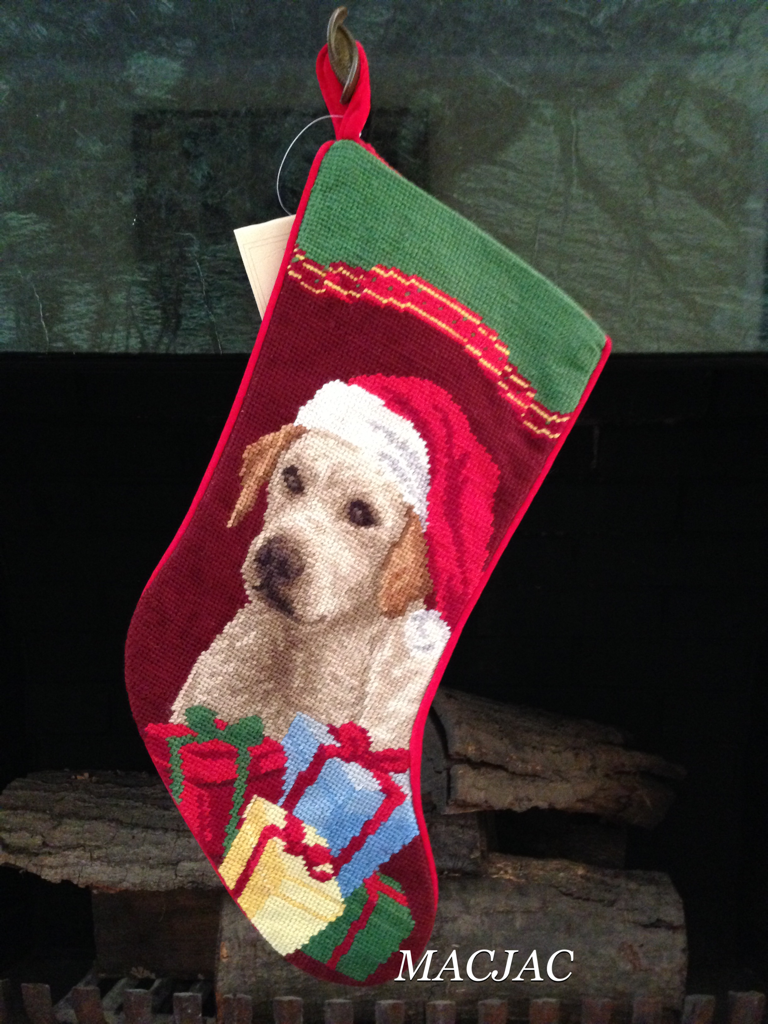 Yellow Lab/Labrador Dog Needlepoint Christmas Stocking