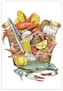 Flour Sack Kitchen Dish Towel Crab Boil Mary Lake - Thompson