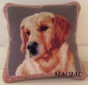 "Golden Retriever Dog Needlepoint Pillow 10""x10"""