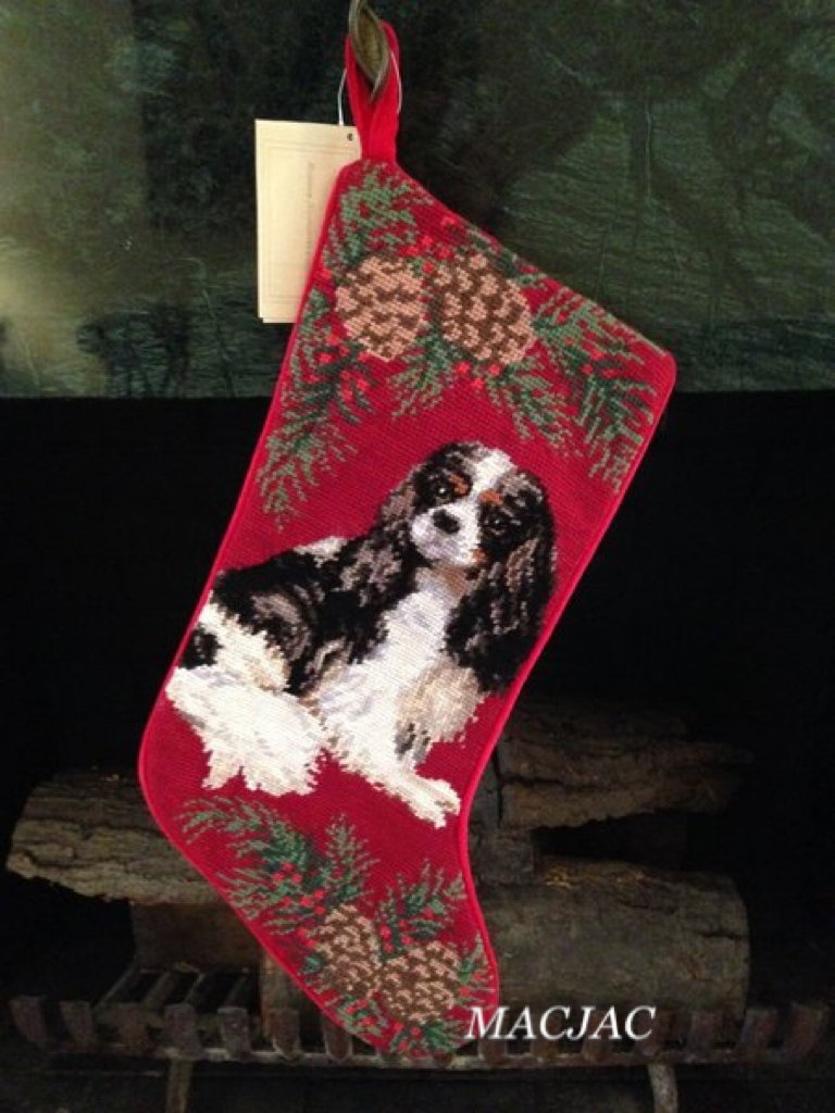 Tri-color King Cavalier Dog Needlepoint Christmas Stocking