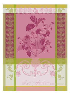 Garnier-Thiebaut French Country Kitchen Dish Towel Fraisier Rose