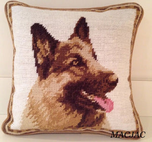"German Shepherd Dog Needlepoint Pillow 10""x 10"""