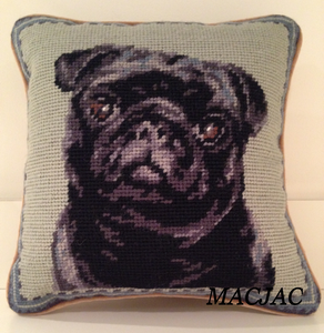 "Black Pug Dog Needlepoint Pillow 10""x10"""