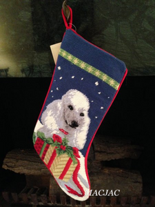 White Poodle Dog Needlepoint Christmas Stocking