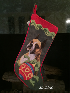Boxer Dog Needlepoint Christmas Stocking