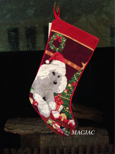 White Poodle Needlepoint Dog Christmas Stocking