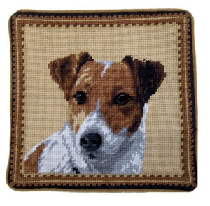 "Jack Russell Dog Needlepoint Pillow 10""x10"""