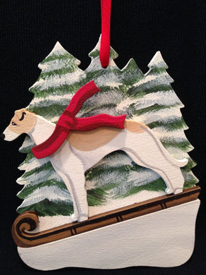 Tan/White Greyhound Dog Wooden Ornament Made in USA