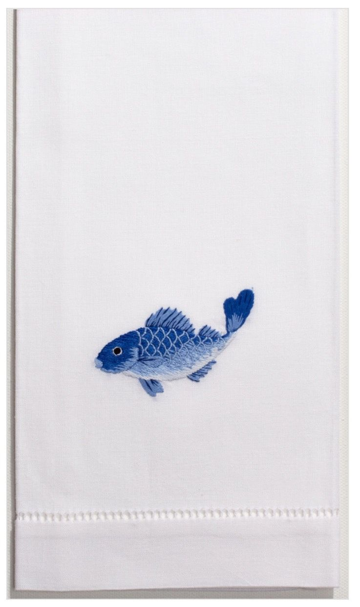 Fish Indigo 100% Cotton Guest Hand Towel