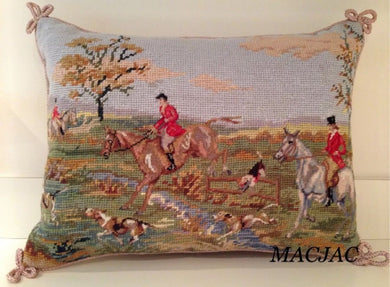 Needlepoint/Petit Point Fox Hunt Pillow