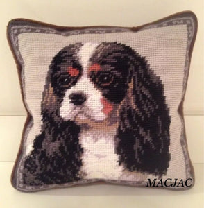 "Tri Cavalier Dog Needlepoint Pillow 10""x10"""