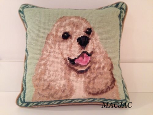 "Cocker Spaniel Dog Needlepoint Pillow 10""x10"""