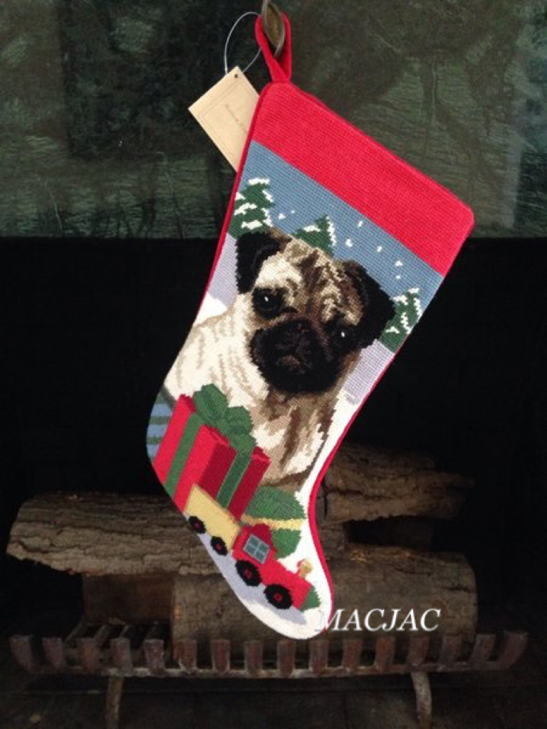 Fawn Pug Dog Needlepoint Christmas Stocking