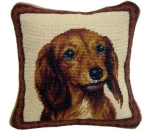 "Long Hair Dachshund Dog Needlepoint Pillow 10""x10"""