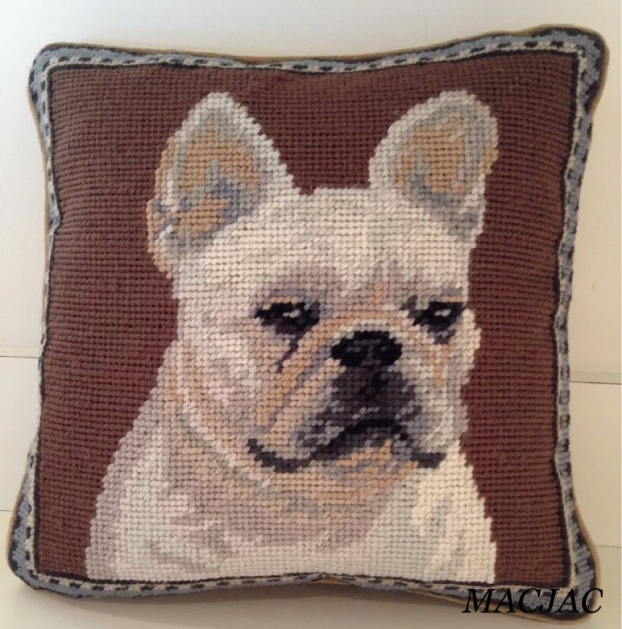 White Frenchie Dog Needlepoint Pillow 10