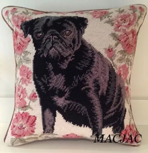 "Black Pug Dog Needlepoint Pillow 14""x14"""