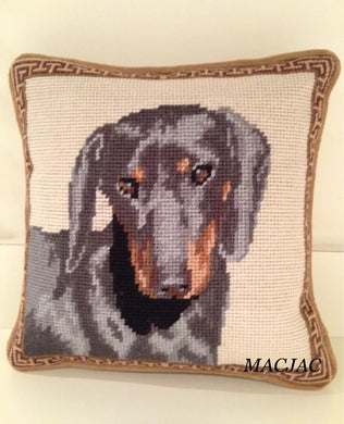 Black Dachshund Dog Needlepoint Pillow 10