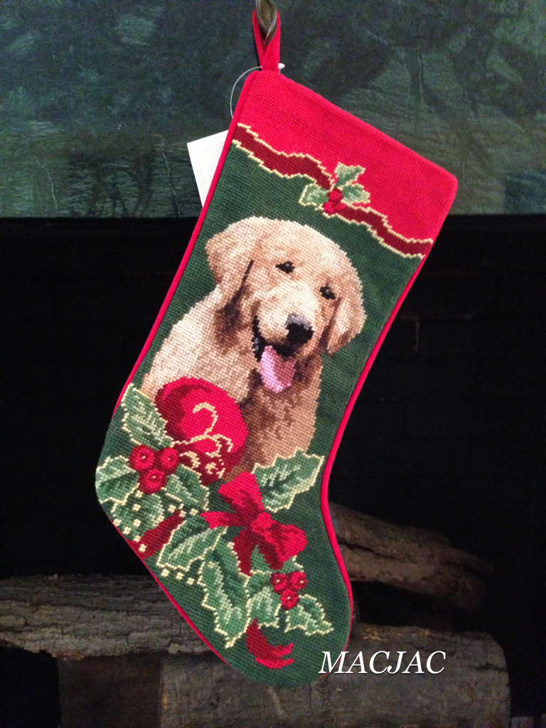 Golden Retriever Dog Needlepoint Stocking