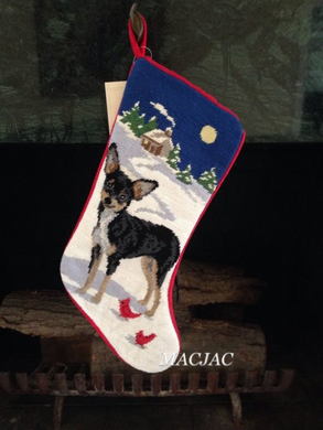 Chihuahua Dog Needlepoint Christmas Stocking