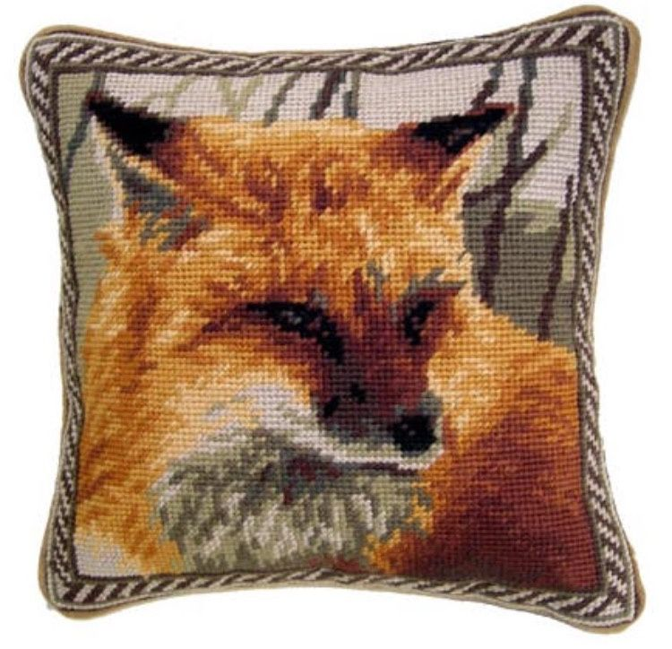 Red Fox Needlepoint Pillow #2 10