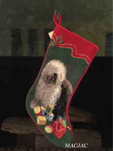 English Sheepdog Needlepoint Christmas Stocking