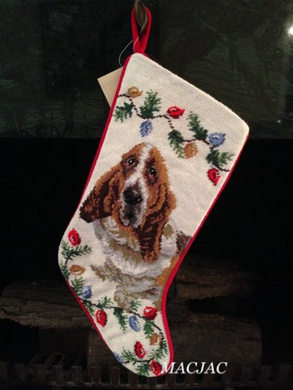 Basset Hound Dog Needlepoint Christmas Stocking