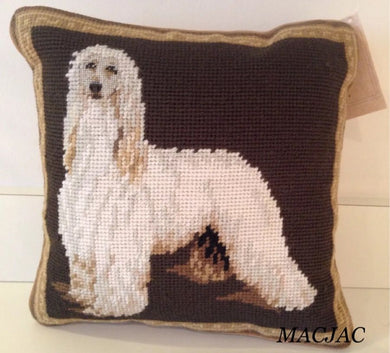 Afghan Hound Dog Needlepoint Pillow 10