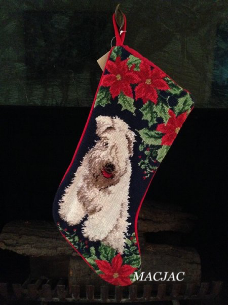 Wheaton Terrier Dog Needlepoint Christmas Stocking