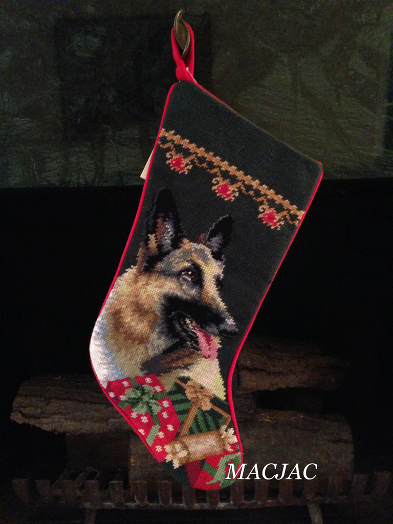 German Shepherd Dog Needlepoint Christmas Stocking