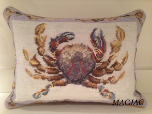 "Crab Needlepoint Pillow 12""x16"""