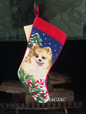 Pomeranian Dog Needlepoint Christmas Stocking