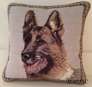 "German Shepherd Pillow Dog Needlepoint Pillow 10""x10"""